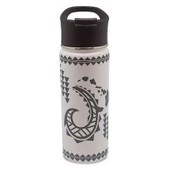 Island Heritage Hawaii Style Island Flask Tumbler Tribal Hook White