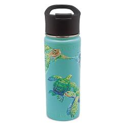 Island Heritage Hawaii Style Island Flask Tumbler Swimming Honu Turtle Teal