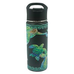 Island Heritage Hawaii Style Island Flask Tumbler Swimming Honu Turtle Black
