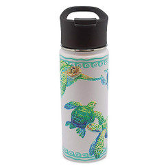 Island Heritage Hawaii Style Island Flask Tumbler Swimming Honu Turtle White
