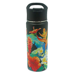 Island Heritage Hawaii Style Island Flask Tumbler Garden Black