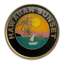 Hawaii Lapel Or Hat Pin Sunset Black, Gold