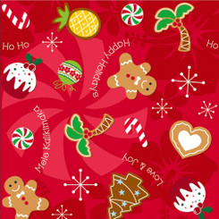 Island Heritage Holiday Delights Cookies Hawaiian Gift Wrap Paper 4 Rolls