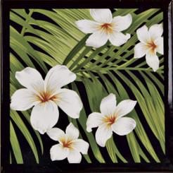 Islander Hawaii Ceramic Tile Trivet Plumeria Palm