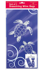 Island Heritage Hawaiian Drawstring Wine Gift Bags 3 Pack Honu Waves