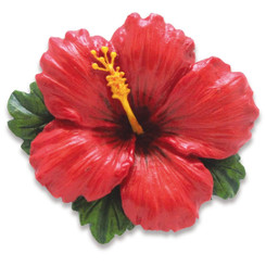 Island Heritage Hand Painted Resin Ornaments Hibiscus Red