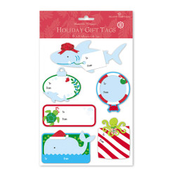 Island Heritage 3D Adhesive Hawaiian Holiday Gift Tags Merry Fishmas