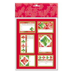 Island Heritage Quilted Holidays 18 Pack Adhesive Hawaiian Christmas Gift Tag