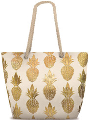 Island Heritage Rope Handle Metallic Beach Tote Bag Pineapple Cream