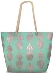 Island Heritage Rope Handle Metallic Beach Tote Bag Pineapple Turquoise