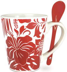 Island Heritage Hawaii Style Coffee Mug with Spoon Hibiscus Floral