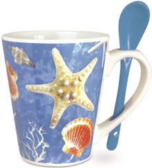 Island Heritage Hawaii Style Coffee Mug with Spoon Island Shells