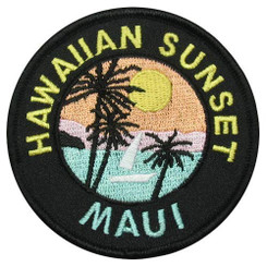 KC Hawaii Iron-On Embroidery Applique Patch Maui Sunset