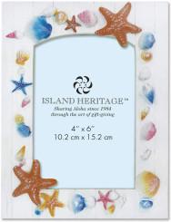 Island Heritage Coastal Polyresin 4 x 6 inch Photo Frame Shell Panel