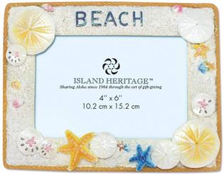 Island Heritage Coastal Polyresin 4 x 6 inch Photo Frame Shell Beach