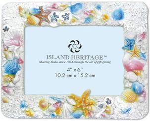 Island Heritage Coastal Polyresin 4 x 6 inch Photo Frame Shells