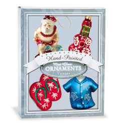Hawaiian Christmas Tropical Holiday Glass Mini Ornaments Gift Set of 4