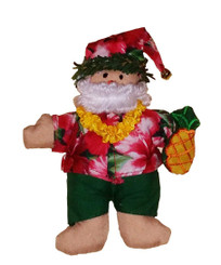 Hawaiian Style Christmas Ornament Fabric Santa With Pineapple
