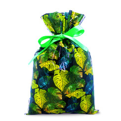 Island Heritage Everyday Foil Drawstring Small Gift Bag Pack of 3 Monstera Black