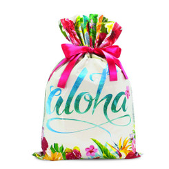 Island Heritage Everyday Foil Drawstring Large Gift Bag Pack of 3 Aloha Floral