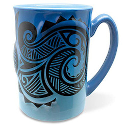 14 oz. Boxed Hawaiian Embossed Tribal Blue Coffee Mug