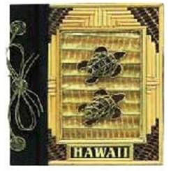 "Hawaii Photo Album Bamboo & 2 Turtles 9"" x 11"""