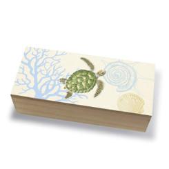 Tropical Island Coastal Wood Jewelry Trinket Box Honu Voyage