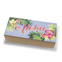 Tropical Island Coastal Wood Jewelry Trinket Box Aloha Palm