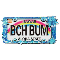 Hawaii Wood Magnet 2D Sea Shell Beach Bum License Plate