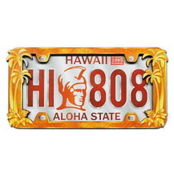 Hawaii Wood Magnet 2D Warrior License Plate
