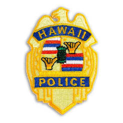 Hawaiian Iron-On Embroidery Applique Patch HPD Department Yellow, Blue
