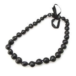 Lei 28 Inch 32 Kukui Nuts Black