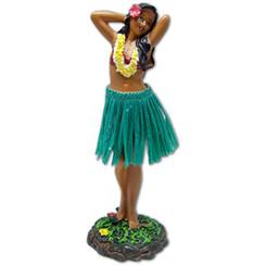 "Leilani Dashboard Hula Doll Flower Placing Pose 7"" Green"