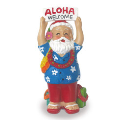 Hawaiian Handpainted Polyresin Hawaii Christmas Ornament Santa Greeting