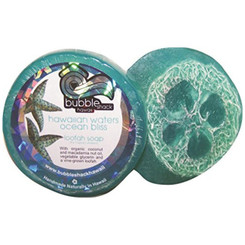 Hawaiian Bubble Shack Loofah Glycerin Soap Waters Ocean Bliss 4 Bars
