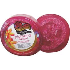 Hawaiian Bubble Shack Loofah Glycerin Soap Plumeria Sunset 4 Bars