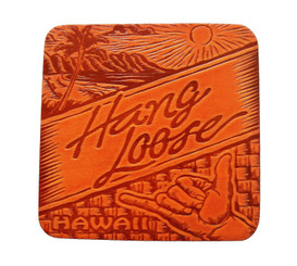 Hawaiian Hang Loose Wood Branded Coaster 4 Pack Set