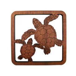 Hawaiian Honus/Turtles Laser Cut Wood Coasters 4 Pack Set