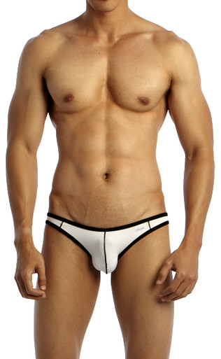 Groovin' Underwear Accent V-Cut Bikini White Front View