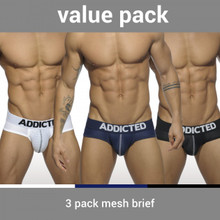 Addicted Underwear 3-Pack Mesh Push Up Briefs (AD475P-3COL)