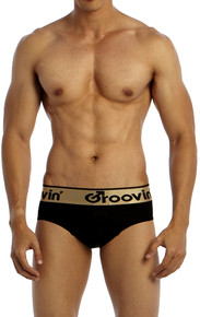Groovin' Underwear Bold-Line Sports Jock Black Front View