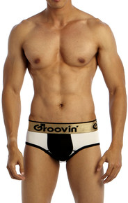 Groovin' Underwear Bold-Line Sports Jock White-Black Front View