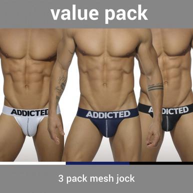 Addicted Underwear 3-Pack Mesh Push-Up Jock (AD479P)