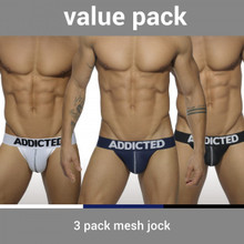 Addicted Underwear 3-Pack Mesh Push-Up Jock (AD479P)