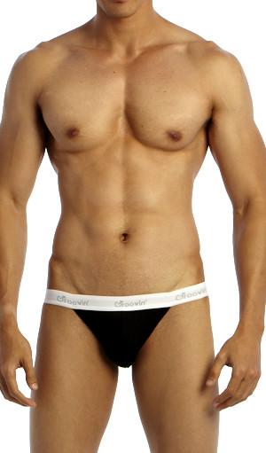 Groovin' Underwear Tanga Bikini Black Front View