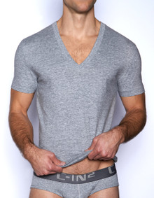 C-IN2 Core Deep V-Neck Pima Tee Grey Heather
