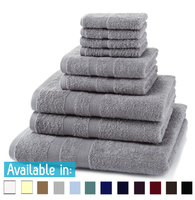 9 Piece 500GSM Towel Bale - 4 Face Cloths, 2 Hand Towels, 2 Bath Towels, 1 Bath Sheet
