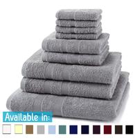 9 Piece 500GSM Towel Bale - 4 Face Cloths, 2 Hand Towels, 2 Bath Towels, 1 Bath Sheet
