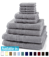 10 Piece 500GSM Towel Bale - 4 Face Cloths, 2 Hand Towels, 2 Bath Towels, 2 Bath Sheets