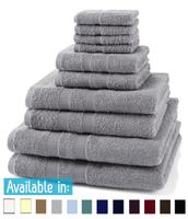 10 Piece 500GSM Towel Bale - 4 Face Cloths, 2 Hand Towels, 2 Bath Towels, 2 Bath Sheets